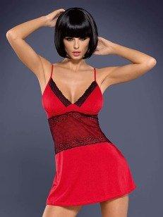 Lamia koszulka i stringi czerwone - z koronkowym zdobieniem
