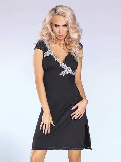 Sylvia sukienka czarna – elegancka sukienka z kontrastującym detalem PROMOCJA! - LC90001