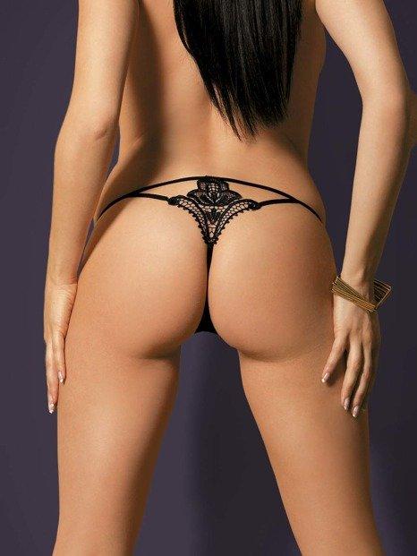 Luiza stringi czarne - z efektownym wzorem z tyłu Obsessive